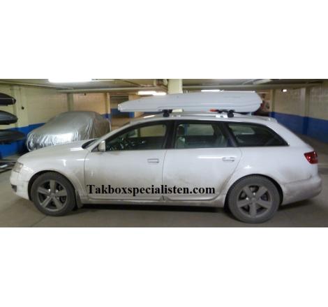 Takbox Packline F Elegance Vit högblank på Audi A6 Allroad