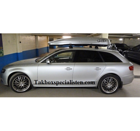 """Takbox Calix 430 / 600 Silver metallic """"Audi Edition"""" på Audi A4 Avant"""