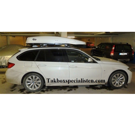 Takbox Calix 430 / 600 Vit högblank på BMW 3 Serie Touring