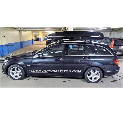 Takbox Packline 90 / Family Svart högblank på Mercedes Benz E-Class