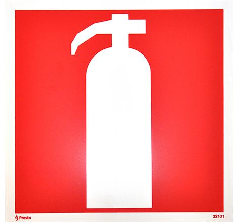 Plastskylt brandsläckare