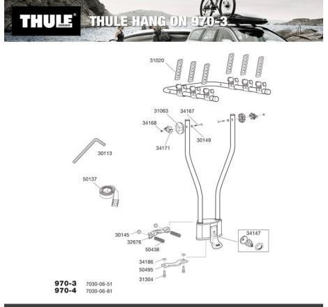 Lås till Thule HangOn 970 3 / 970 4