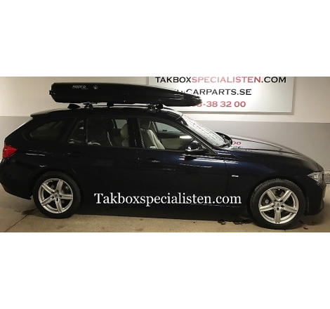 Takbox Hapro Nordic Brilliantsvart metallic på BMW 3 Serie Touring